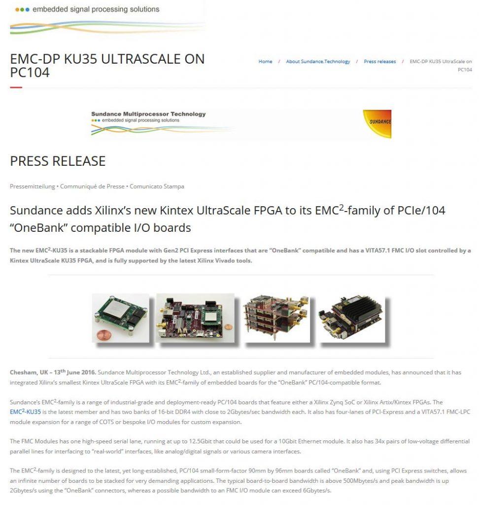 EMC-DP KU35 UltraScale on PC104